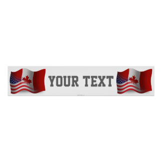 Canadian-American Waving Flag Banner Poster