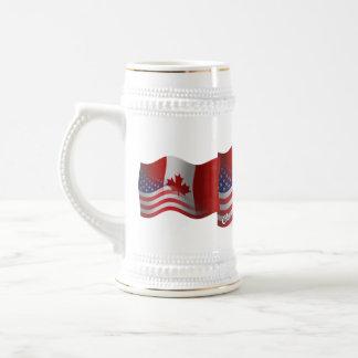 Canadian-American Waving Flag Beer Stein