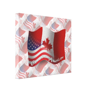 Canadian-American Waving Flag Canvas Print