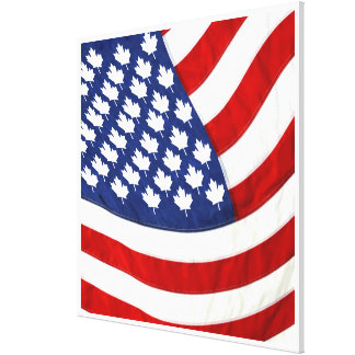 Canadian American Waving Flag Gallery Wrapped Canvas