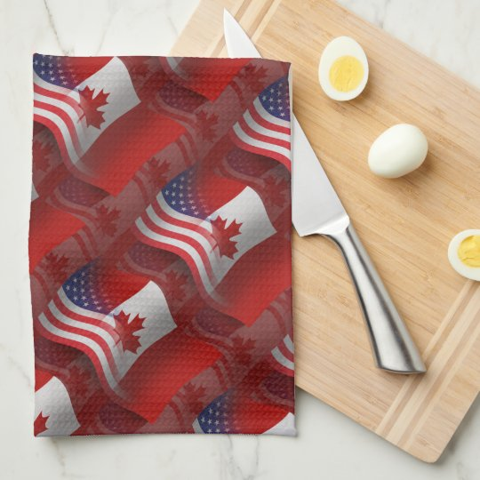 Canadian-American Waving Flag Hand Towel