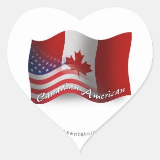 Canadian-American Waving Flag Heart Sticker