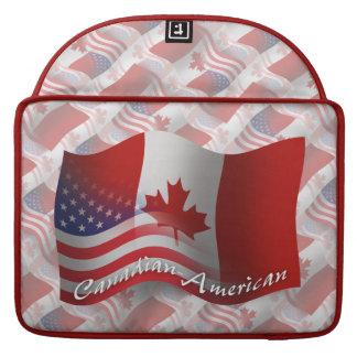 Canadian-American Waving Flag MacBook Pro Sleeves