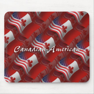 Canadian-American Waving Flag Mouse Pad