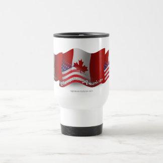 Canadian-American Waving Flag 15 Oz Stainless Steel Travel Mug