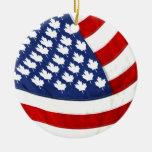 Canadian / American Waving Flag Ornament