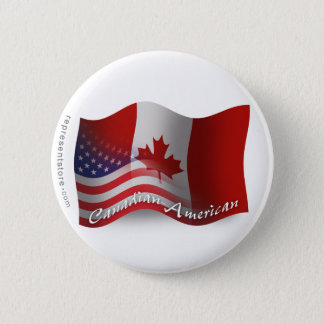 Canadian-American Waving Flag Pinback Button