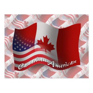 Canadian-American Waving Flag Postcard