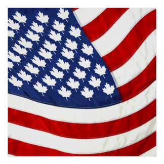 Canadian American Waving Flag Poster