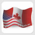 Canadian-American Waving Flag Square Sticker