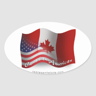 Canadian-American Waving Flag Oval Sticker