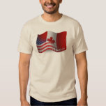 Canadian-American Waving Flag Tee Shirt