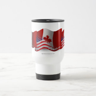 Canadian-American Waving Flag Travel Mug