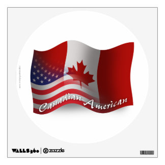 Canadian-American Waving Flag Wall Decal