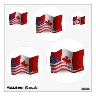 Canadian-American Waving Flag Room Sticker