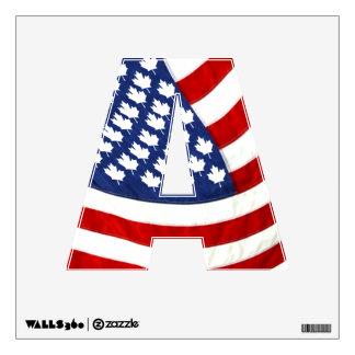 Canadian American Waving Flag Wall Skins