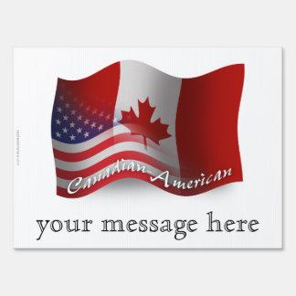 Canadian-American Waving Flag Yard Signs
