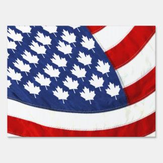 Canadian / American Waving Flag Lawn Signs