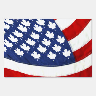 Canadian / American Waving Flag Signs