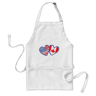 Canadian and America Flag Hearts Adult Apron