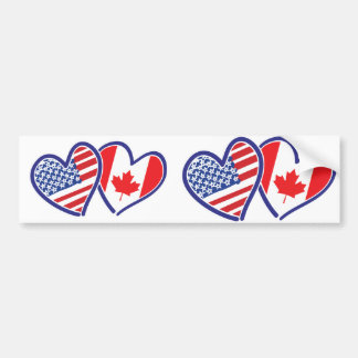 Canadian and America Flag Hearts Bumper Sticker