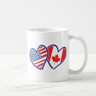 Canadian and America Flag Hearts Coffee Mug