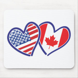 Canadian and America Flag Hearts Mouse Pad