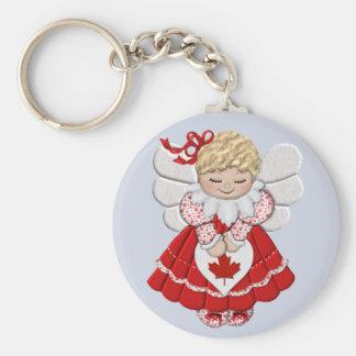 Canadian Angel Basic Round Button Keychain