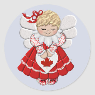 Canadian Angel Classic Round Sticker