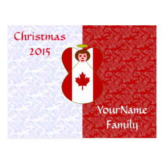 Canadian Angel Flag Red Hair Red White Postcard
