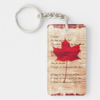 Canadian anthem on grunge background with red mapl keychain