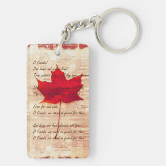 Canadian anthem on with red maple leaf keychain
