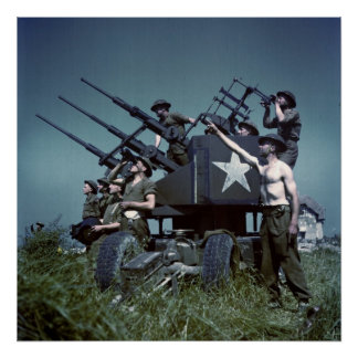Canadian Anti-Aircraft Gun France World War II Print