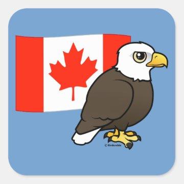 Cute Customizable Bald Eagle Canada Flag Square Sticker