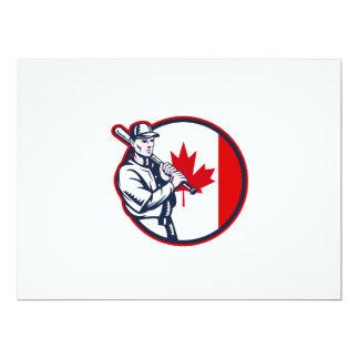 Canadian Baseball Batter Canada Flag Circle 6.5x8.75 Paper Invitation Card