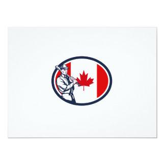 Canadian Baseball Batter Canada Flag Retro 6.5x8.75 Paper Invitation Card