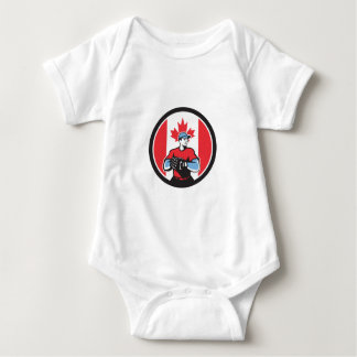 Canadian Baseball Pitcher Canada Flag Icon Baby Bodysuit