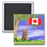 Canadian Beaver and Flag 2 Inch Square Magnet