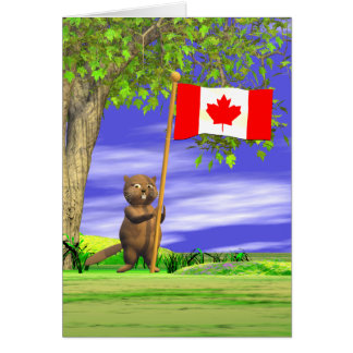 Canadian Beaver and Flag Card