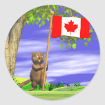 Canadian Beaver and Flag Classic Round Sticker