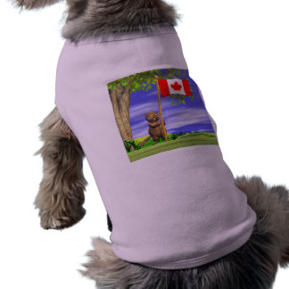 Canadian Beaver and Flag Pet Tshirt