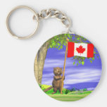 Canadian Beaver and Flag Basic Round Button Keychain