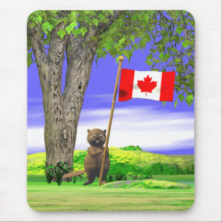 Canadian Beaver and Flag Mouse Pad