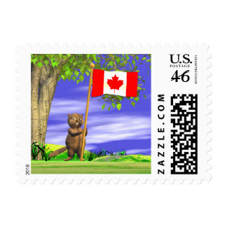 Canadian Beaver and Flag Postage Stamps