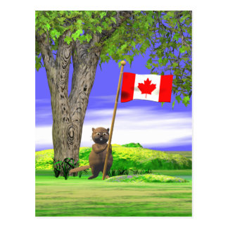 Canadian Beaver and Flag Postcard