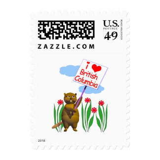 Canadian Beaver Loves British Columbia Postage Stamps