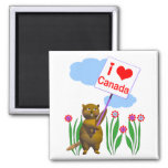 Canadian Beaver Loves Canada 2 Inch Square Magnet