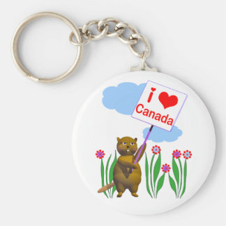 Canadian Beaver Loves Canada Basic Round Button Keychain