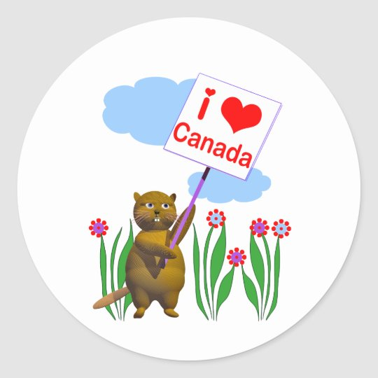 Canadian Beaver Loves Canada Classic Round Sticker