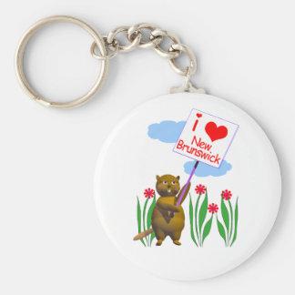 Canadian Beaver Loves New Brunswick Keychain